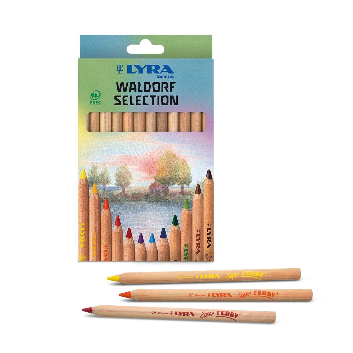 12 Colour Set Waldorf Steiner Selection Lyra Super Ferby Colour Pencils